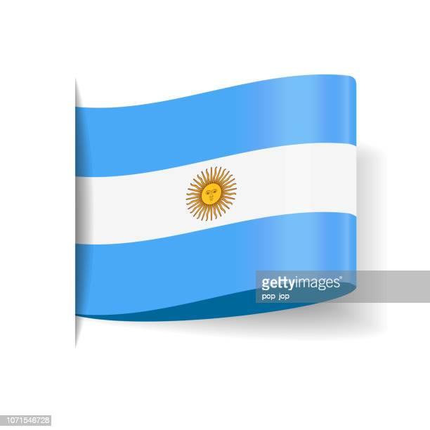 ilustraciones, imágenes clip art, dibujos animados e iconos de stock de argentina - bandera vector plano icono de etiqueta etiqueta - bandera argentina