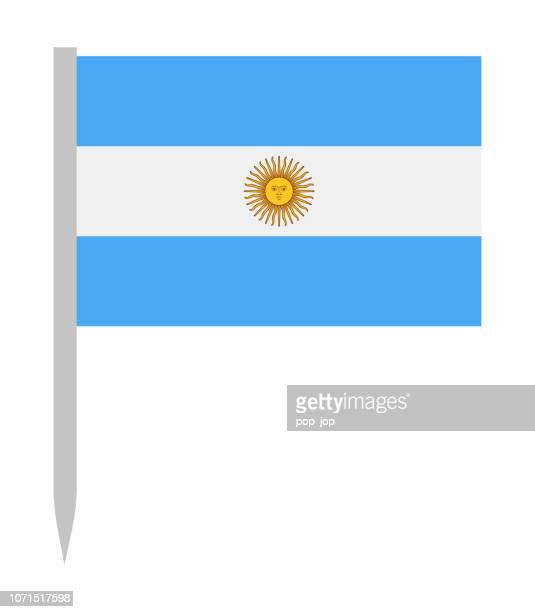 ilustraciones, imágenes clip art, dibujos animados e iconos de stock de argentina - vector bandera icono plana - bandera argentina