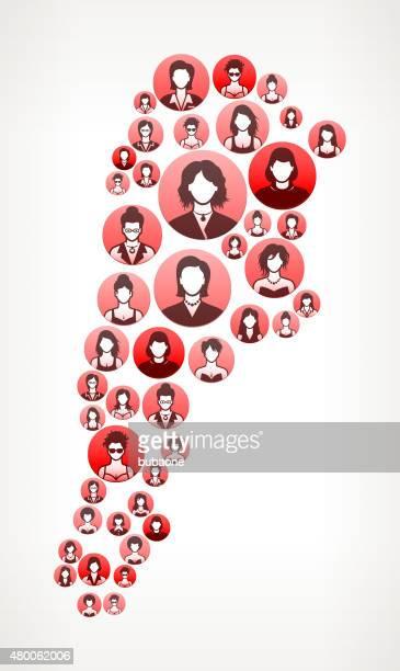 Argentine femmes visages Girl Power motif.