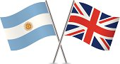 Argentinian and British flags. Vector.