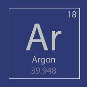 Argon Ar chemical element icon