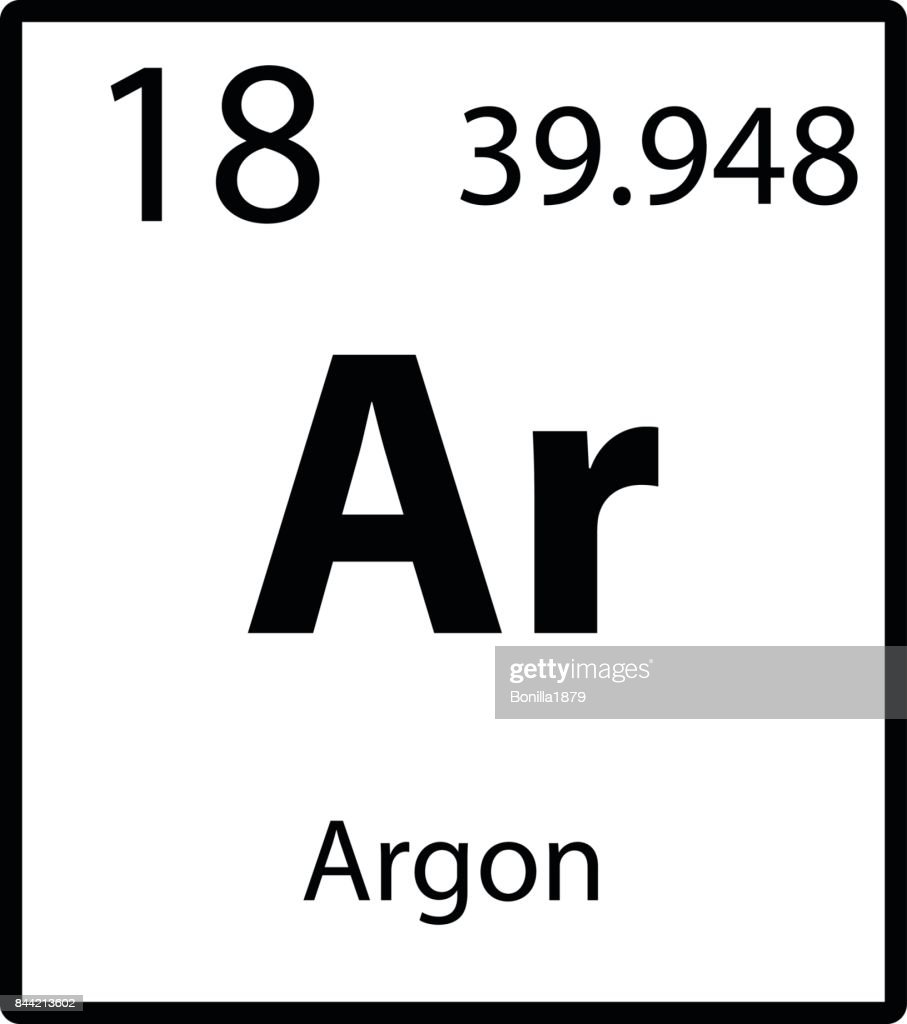 Argon periodic table element color icon on white background vector