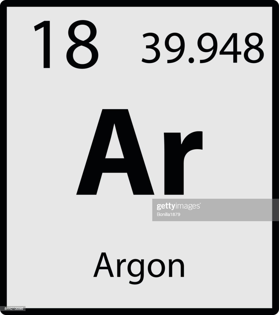 Argon periodic table element gray icon on white background vector