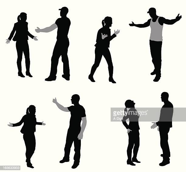 Arguing Couples Vector Silhouette