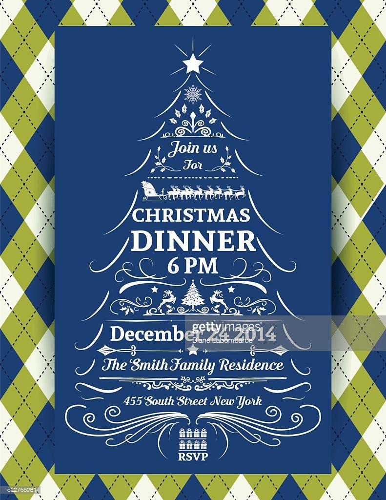argyle christmas dinner invitation template vector art getty images