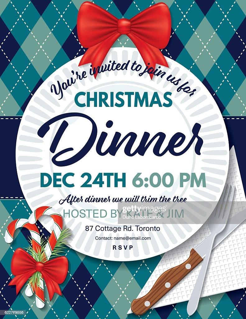 Argyle tablecloth christmas dinner invitation template vector art argyle tablecloth christmas dinner invitation template vector art stopboris Images