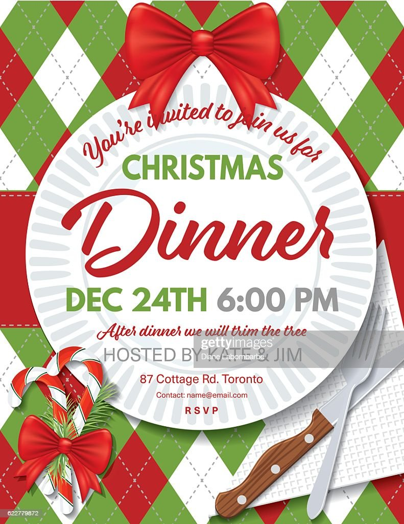 Argyle Tablecloth Christmas Dinner Invitation Template High