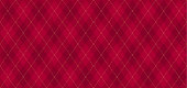 Argyle vector pattern. Dark red with thin golden dotted line.