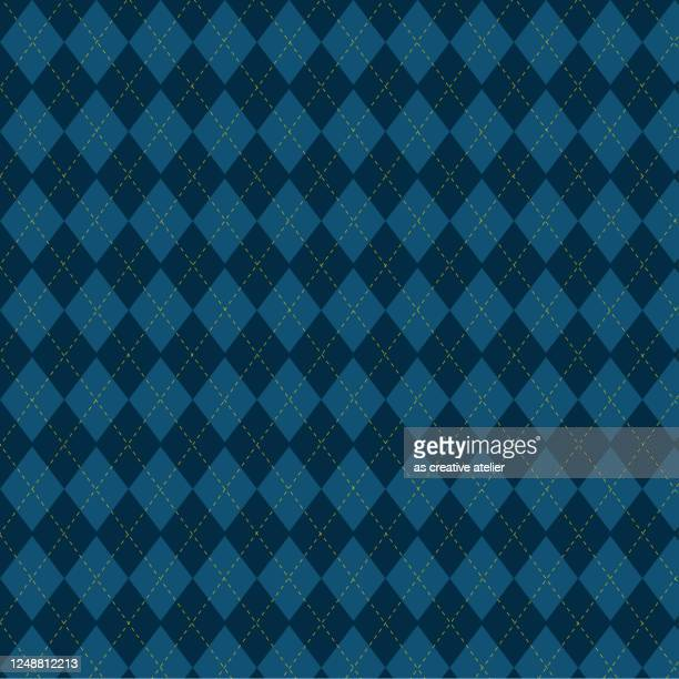 argyle vector pattern. navy blue with thin yellow dotted line - garment stock illustrations