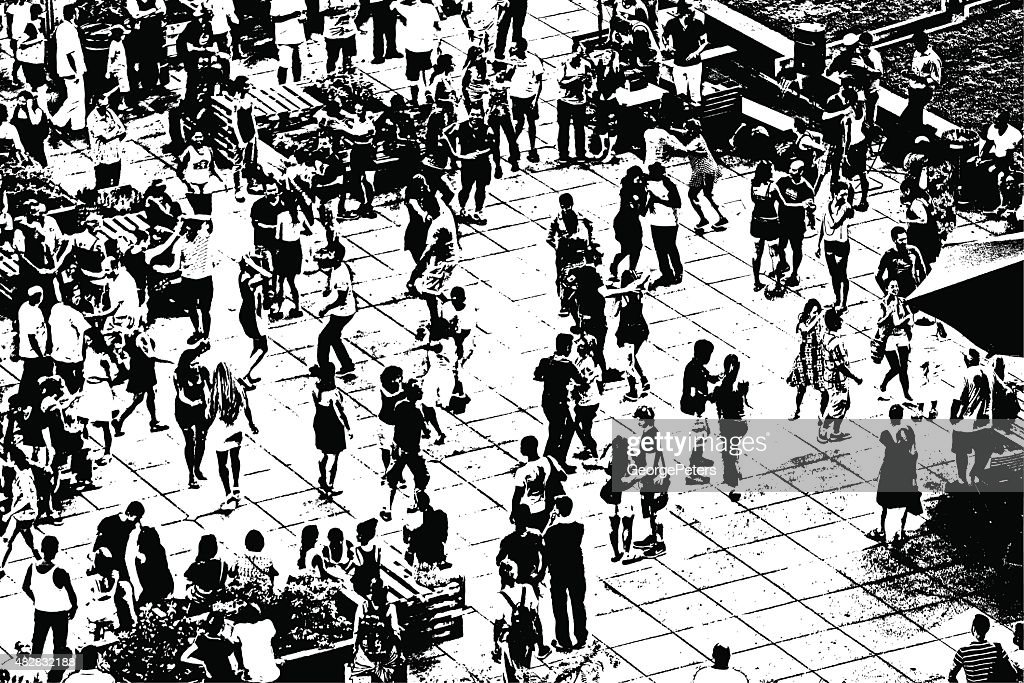 Arial View Of Crowd Dancing at a Summer Concert