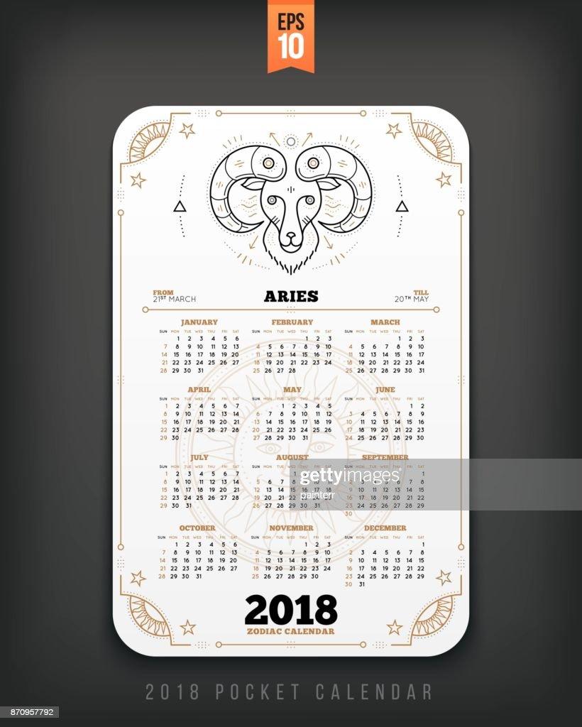 Calendario Zodiacal.2018 Aries Ano Zodiacal Calendario Bolsillo Tamano Diseno Vertical