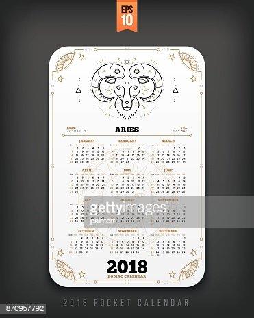 Aries 2018 Year Zodiac Calendar Pocket Size Vertical Layout