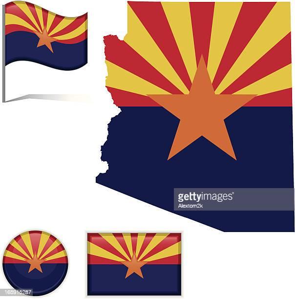 arizon map & flag - arizona stock illustrations