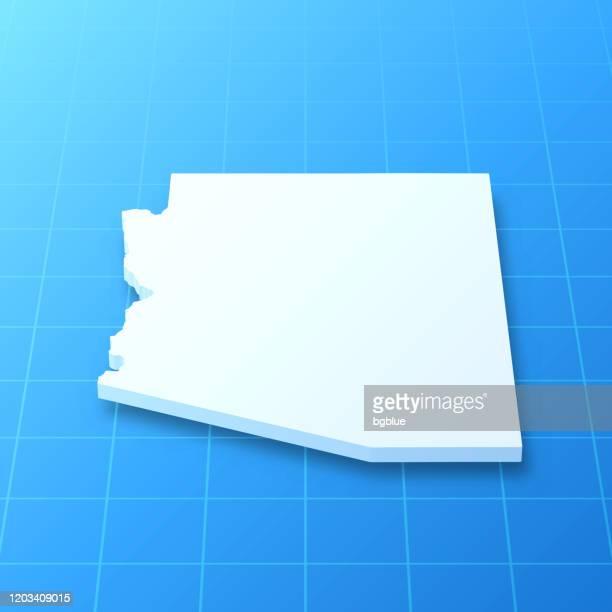 arizona 3d map on blue background - arizona stock illustrations