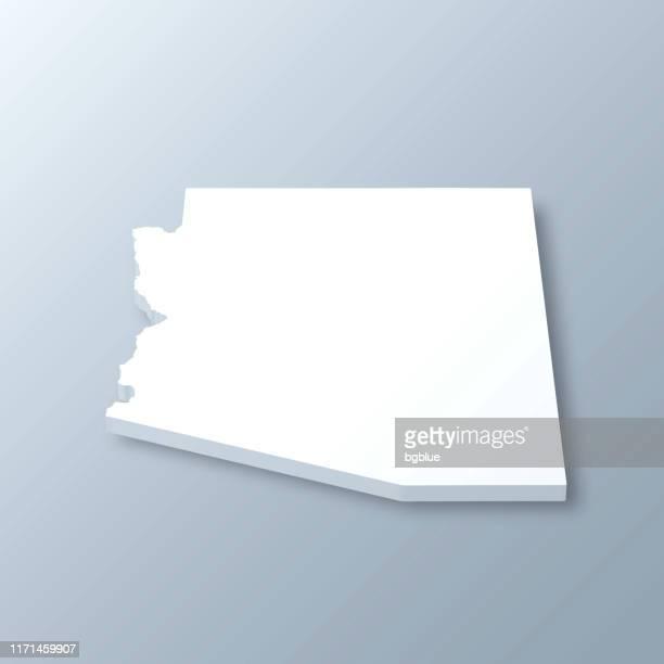 arizona 3d map on gray background - arizona stock illustrations