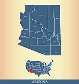 Arizona county map outline vector illustration in creative design
