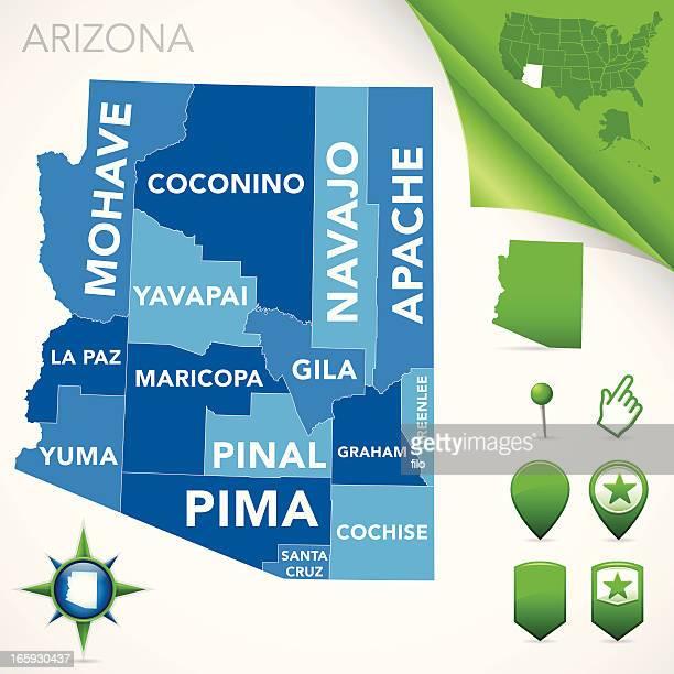 arizona county map - arizona stock illustrations