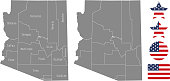 Arizona county map vector outline in gray background. Arizona state of USA map with counties names labeled and United States flag vector illustration designs