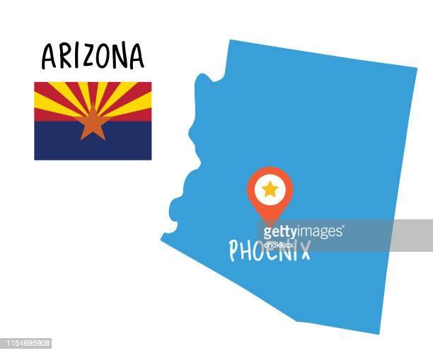 arizona map and flag - arizona stock illustrations