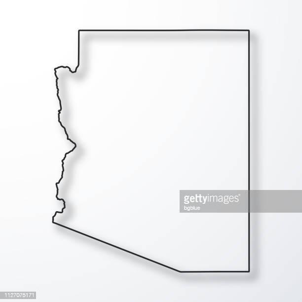 arizona map - black outline with shadow on white background - arizona stock illustrations