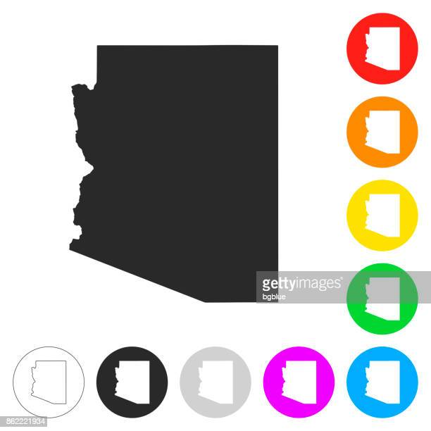 arizona map - flat icons on different color buttons - arizona stock illustrations