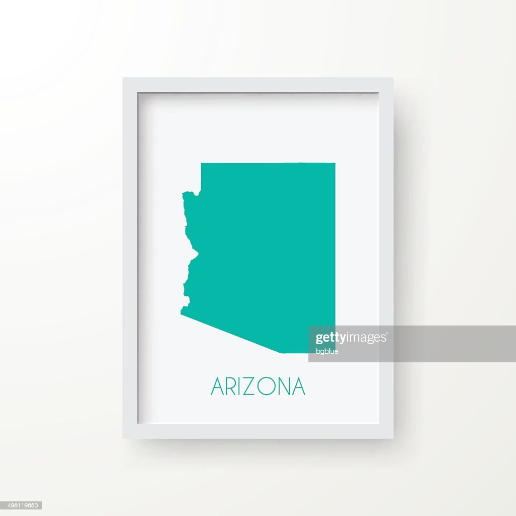 Arizona Map In Frame On White Background Vector Art | Getty Images