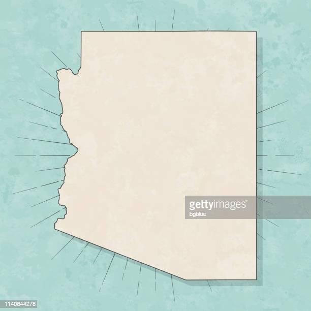 arizona map in retro vintage style - old textured paper - arizona stock illustrations