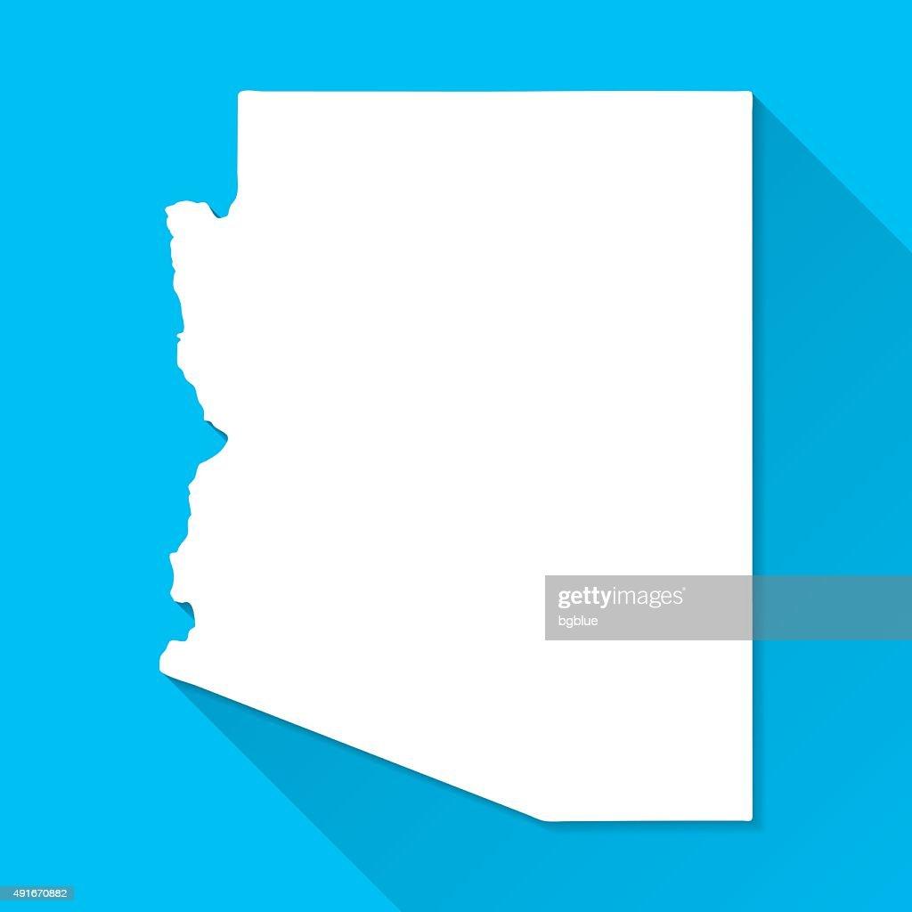 Arizona Map on Blue Background, Long Shadow, Flat Design