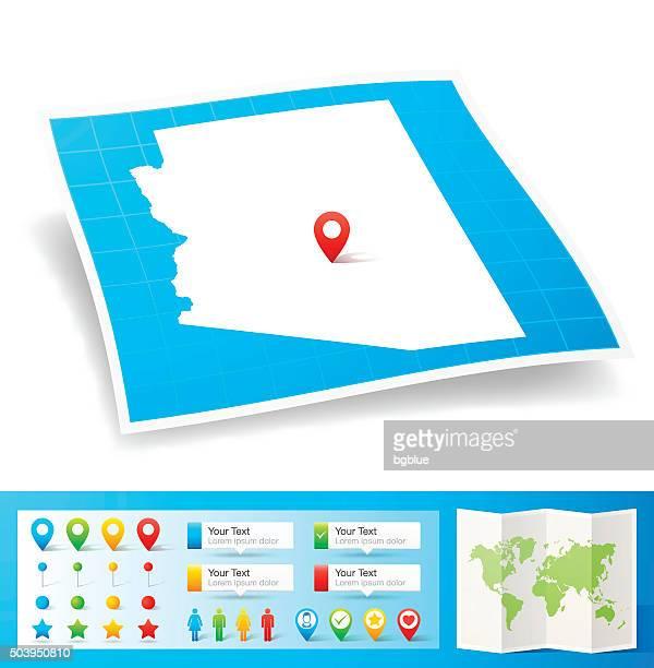 arizona map with location pins isolated on white background - arizona stock illustrations