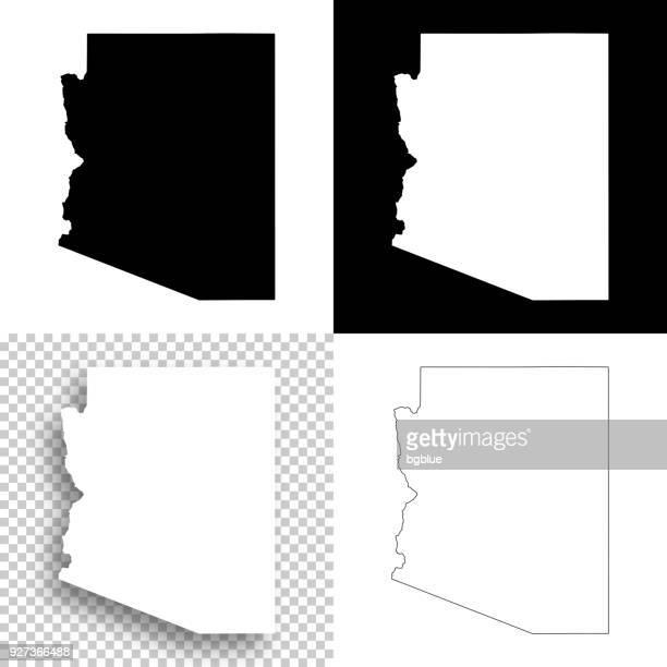 arizona maps for design - blank, white and black backgrounds - arizona stock illustrations