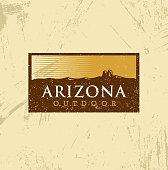 Arizona Outdoor Adventure Mountain Hiking Creative Sign Concept. Vector Active Extreme Design