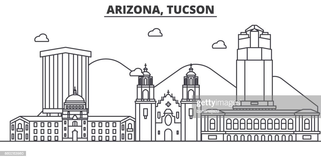 Arizona Tucson architecture line skyline illustration. Linear vector cityscape with famous landmarks, city sights, design icons. Landscape wtih editable strokes