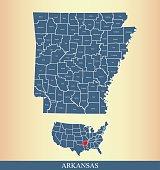 Arkansas county map outline vector illustration in creative design
