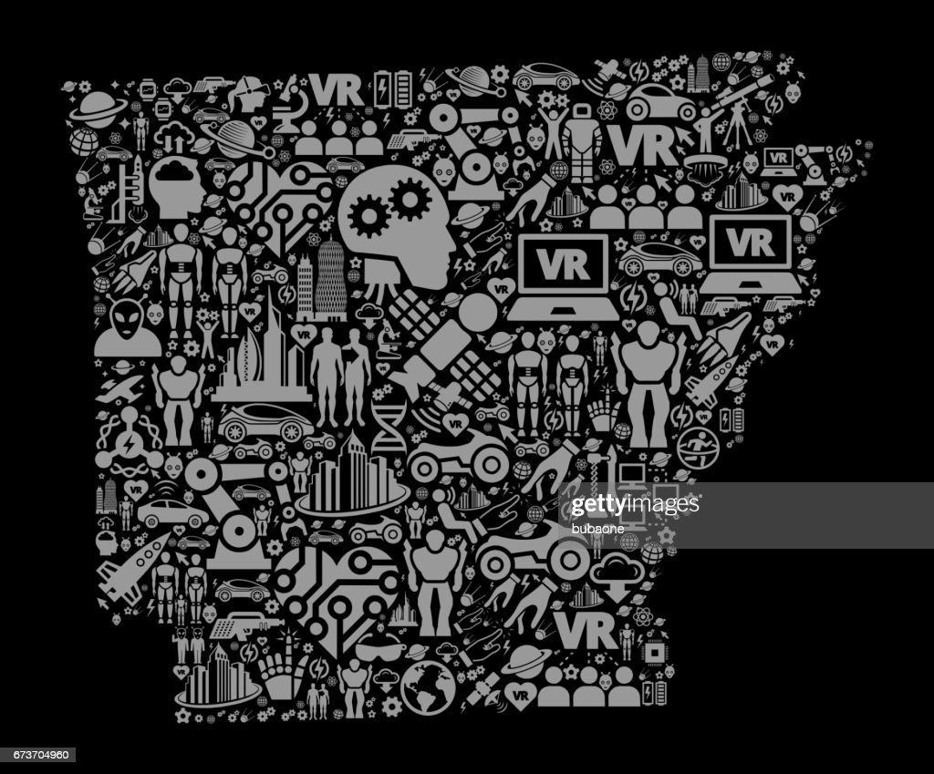 Arkansas Future and Futuristic Technology Vector Icon Black Background