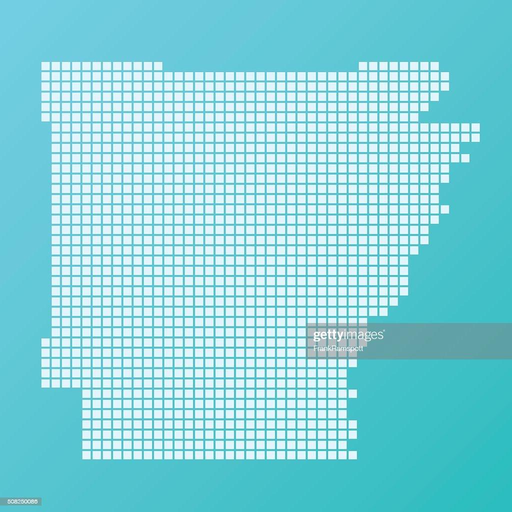 Arkansas Karte Grundlegende Platz Muster-Türkis : Stock-Illustration