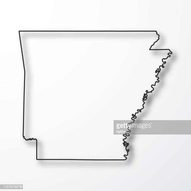 arkansas map - black outline with shadow on white background - arkansas stock illustrations