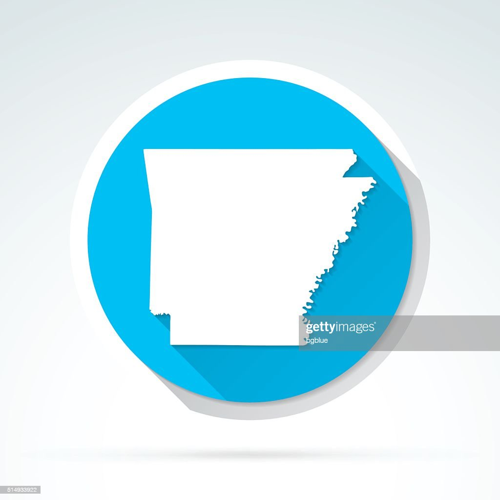 Arkansas map icon, Flat Design, Long Shadow