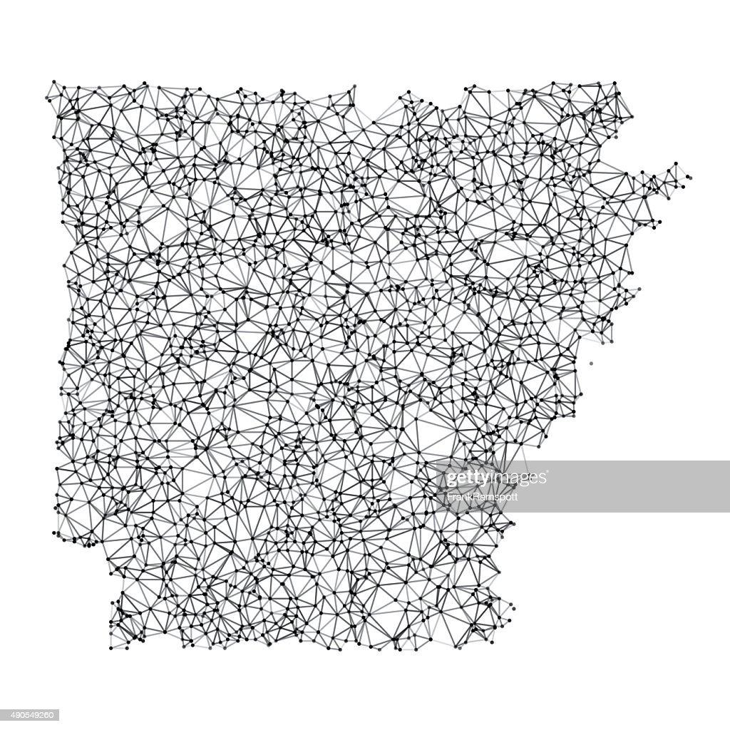 Arkansas Karte Netzwerk schwarz und weiß : Stock-Illustration