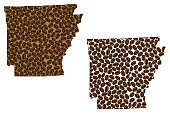 Arkansas -  map of coffee bean