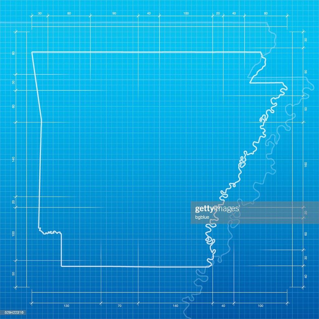 Arkansas map on blueprint background vector art getty images arkansas map on blueprint background vector art malvernweather Images