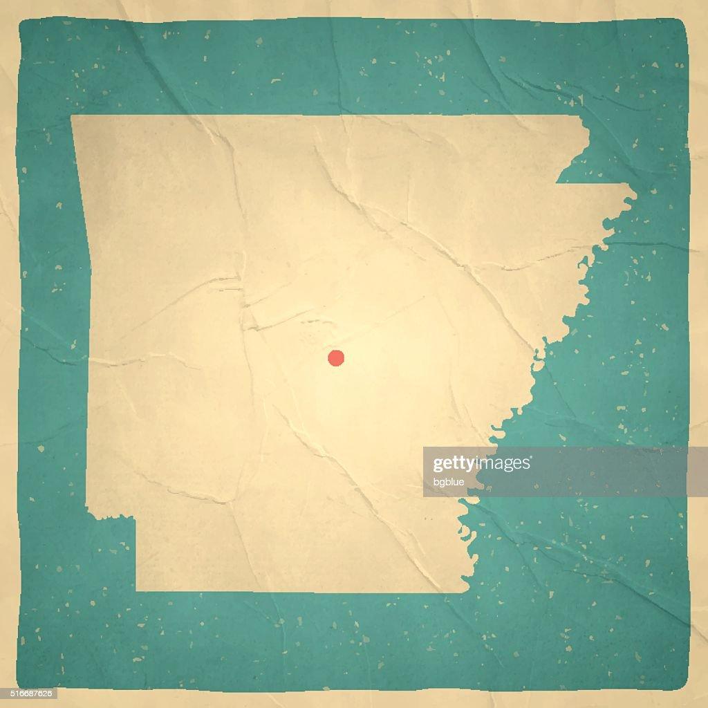 Arkansas Map on old paper - vintage texture