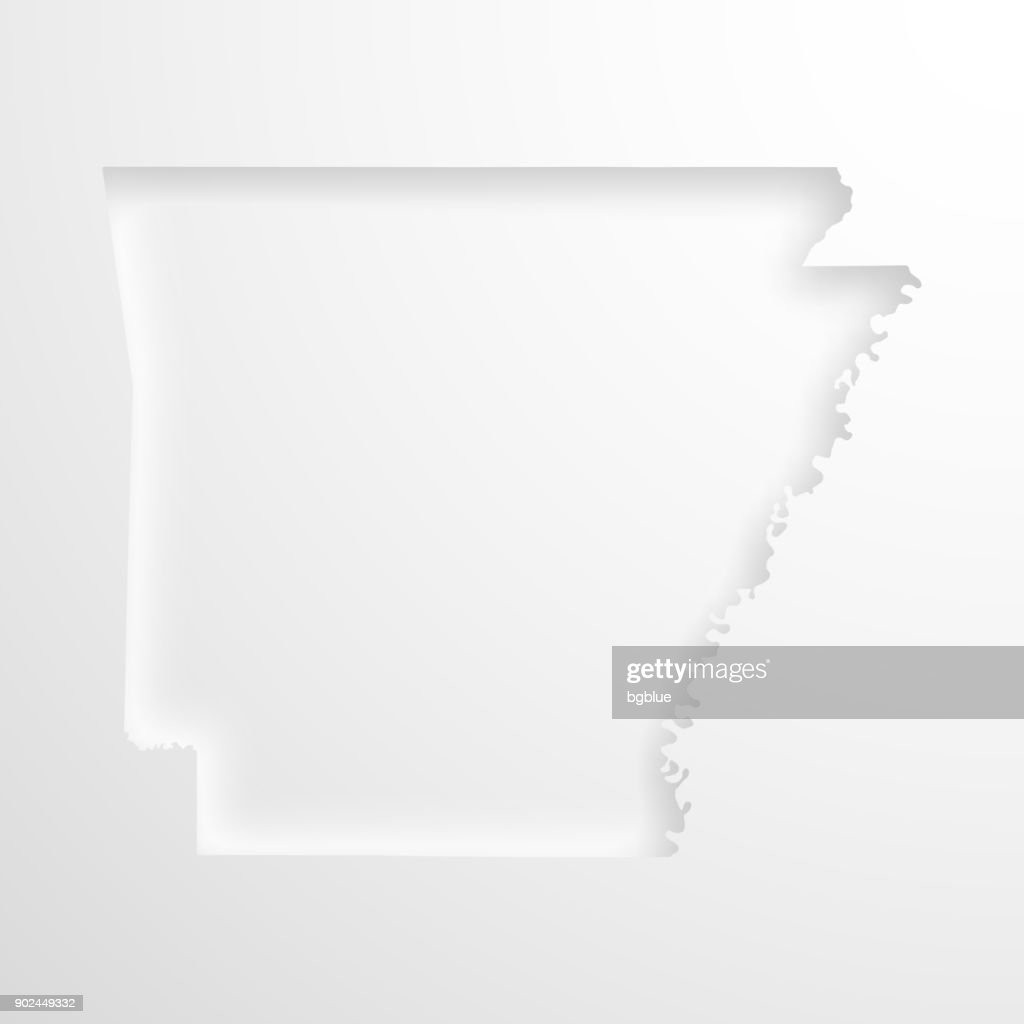 Image of: Arkansas Map With Embossed Paper Effect On Blank Background High Res Vector Graphic Getty Images