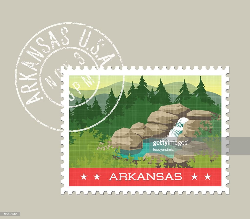 Arkansas, postage stamp. Ozarks waterfall and hot spring.