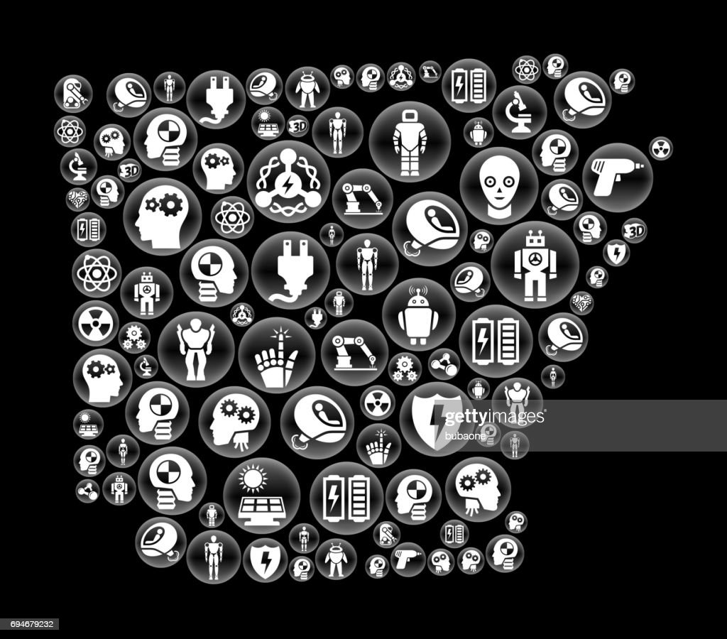 Arkansas Robots and Robotics Black Vector Button Pattern