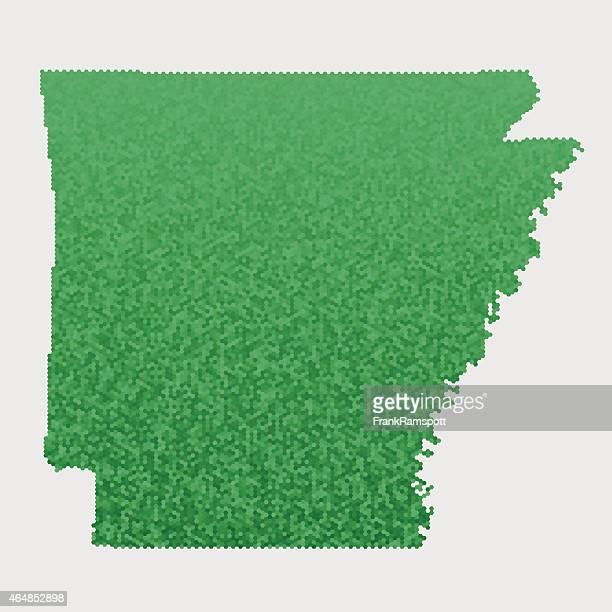 Arkansas State Map Green Hexagon Pattern
