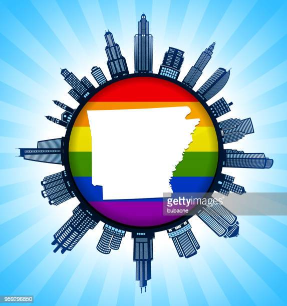 Arkansas State Map on Gay Pride City Skyline Background