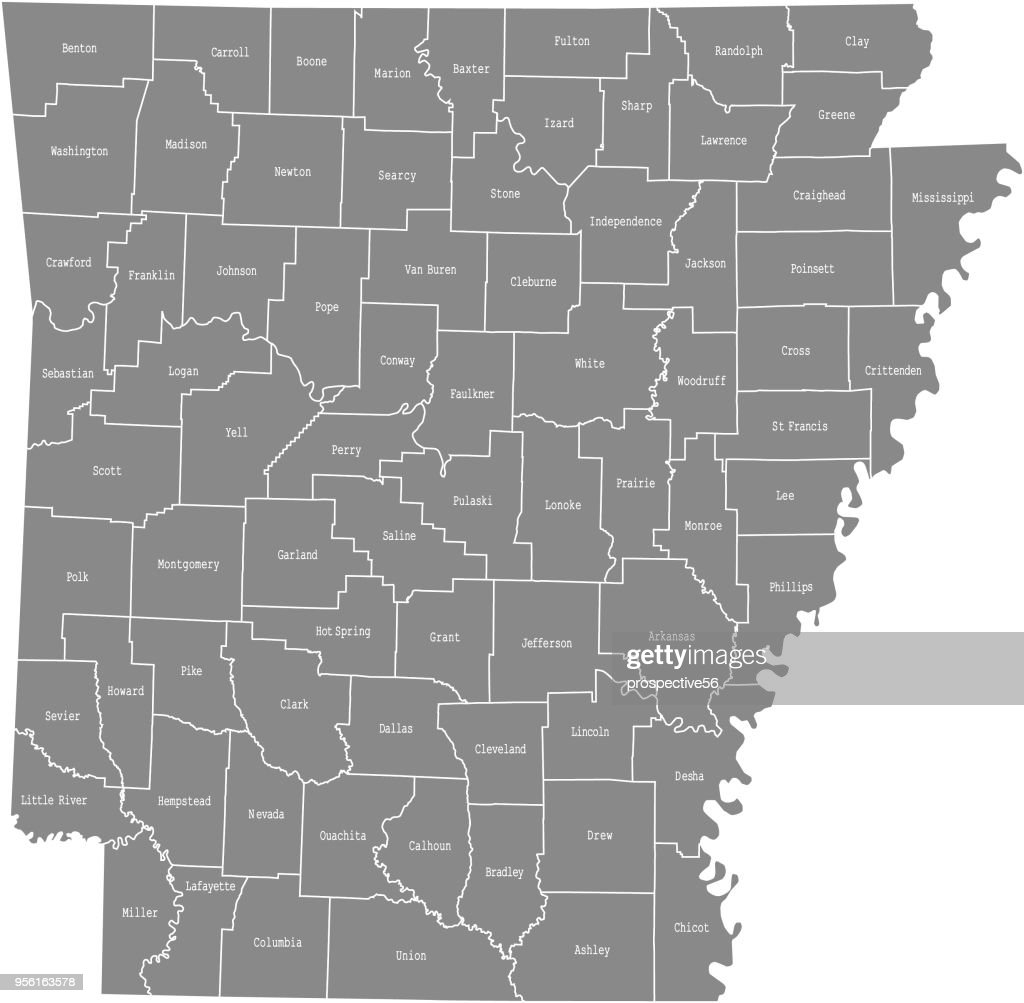 Arkansas state of USA county map vector outlines illustration with counties names labeled in gray background. Highly detailed county map of Arkansas state of United States of America