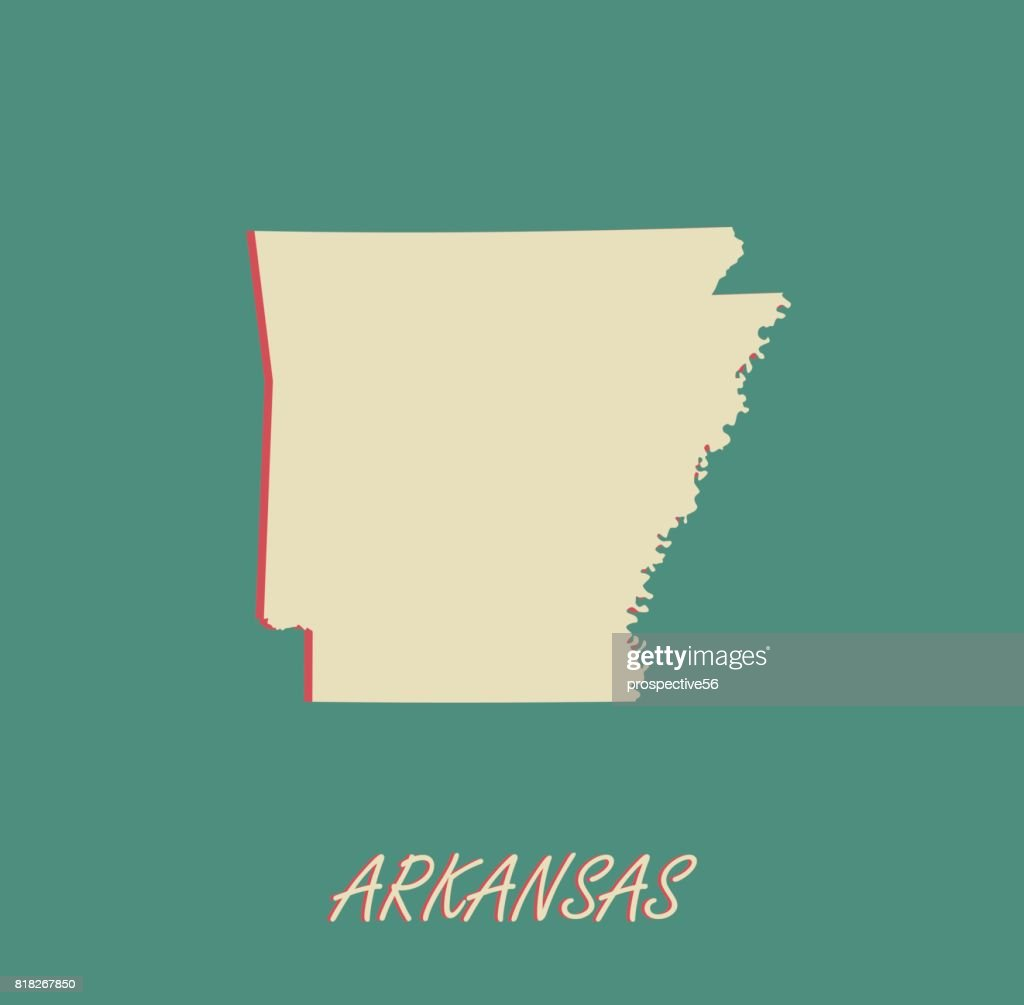 Arkansas State Of Usa Map Vector Outlines In A 3d Illustration ...