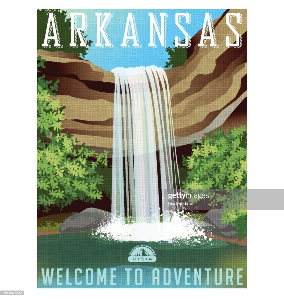 Arkansas travel poster or sticker. Vector illustration of beautiful waterfall over rocky ledge
