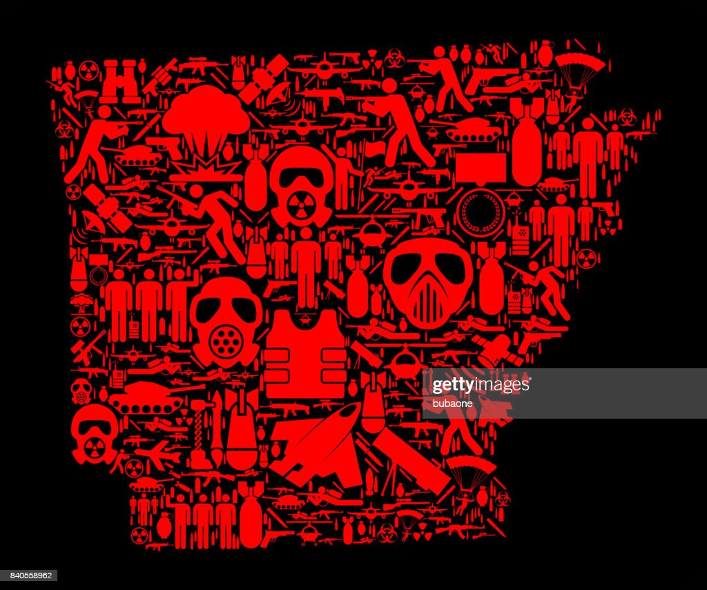 Arkansas War and Modern Warfare Vector Icon Pattern